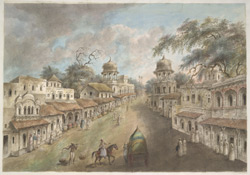 Both sides of the main street of Patna, dominated by two facing chattris